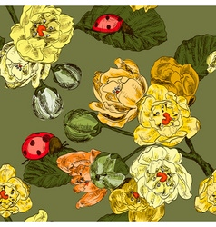 Seamless Floral Background with Ladybugs vector image vector image