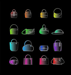 Set of colored icons of womens bags vector