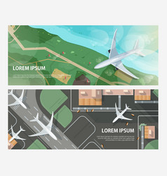 set of horizontal banners with airplanes flying vector image