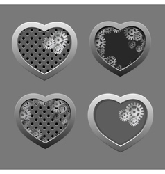Set of metal hearts with silver gears vector