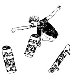 Skateboarder jumping on white background skates vector