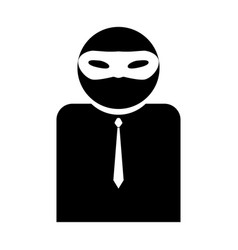 the man incognito in a mask the black color icon vector image vector image