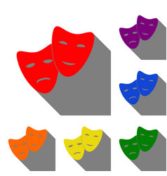 Theater icon with happy and sad masks set of red vector