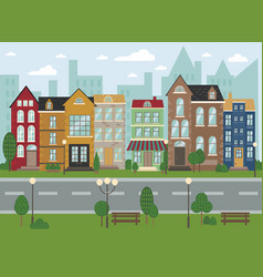 Traditional european architecture old town street vector