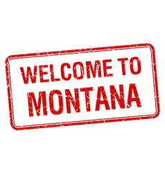 Welcome to montana red grunge square stamp vector