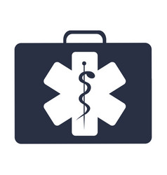 White background with dark blue first aid kit with vector