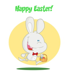 White Bunny With An Easter Basket vector image vector image