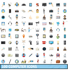 100 computer icons set cartoon style vector
