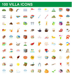 100 villa icons set cartoon style vector image vector image