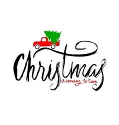 Red car carries Christmas spruce Christmas is vector image