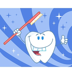 Cartoon smiling tooth with toothbrush vector