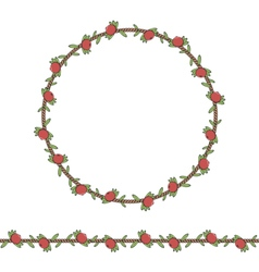Cord with cranberries and leaves vector