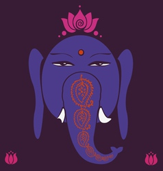 Ganesh and pink lotuses happiness symbol vector