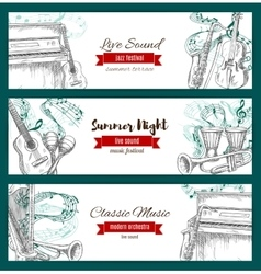 Music festival banners musical instruments sketch vector image