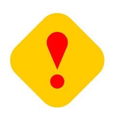 Yellow rhomb exclamation mark icon warning sign vector