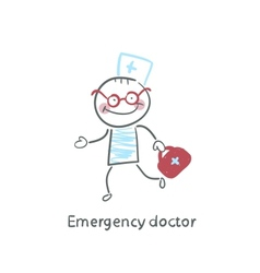 Emergency doctor runs vector image