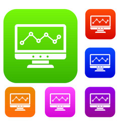 graph in computer screen set collection vector image