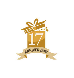 17 years gift box ribbon anniversary vector image vector image