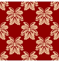 Dainty beige and maroon floral seamless pattern vector