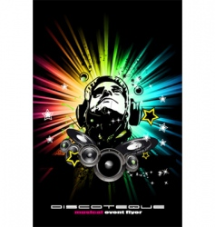 Alternative discotheque dj music flyer vector