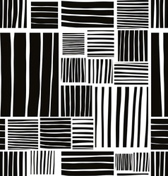 Patched lines seamless pattern black and white vector