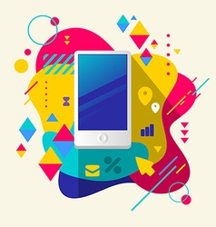 Mobile phone on abstract colorful spotted vector