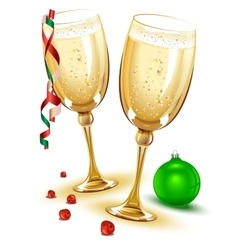 Two glasses of champagne new year eve vector