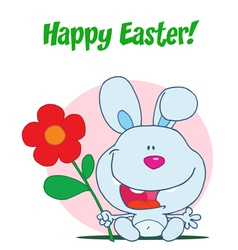 Happy Easter Greeting Over Sitting Blue Bunny vector image