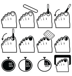Gel nails icons pedicure vector