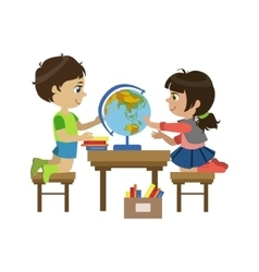 Boy And Girl With The Globe vector image