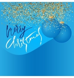 Gold glitter background and blue christmas ball vector