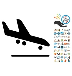Airplane Arrival Icon with 2017 Year Bonus vector image