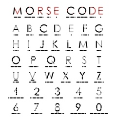 Alphabet and numerals in morse code vector