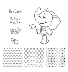 Baby elephant outline design with seamless pattern vector