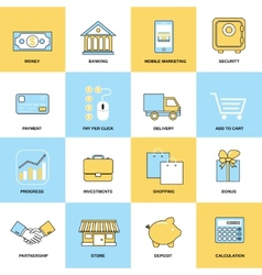 Business icons flat line set vector image vector image
