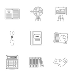Business icons set outline style vector image vector image