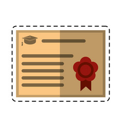 cartoon certificate diploma school icon vector image