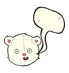 Cartoon polar teddy bear head with speech bubble vector