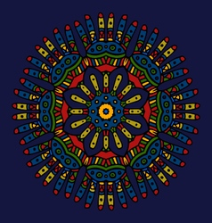 Ethnic colored hand drawn mandala navy blue vector