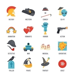 Film genres icon set vector