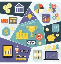 Financial icons flat set vector image vector image