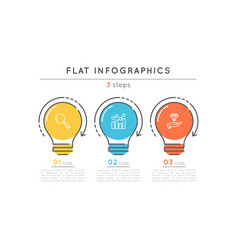 flat style 3 steps timeline infographic template vector image