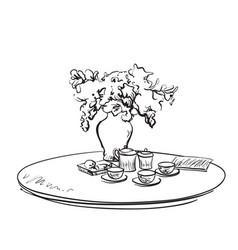 Hand drawn dinner tea wares romantic breakfast vector