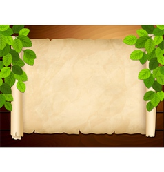 Old paper on the wooden background vector image