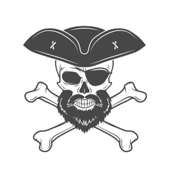 Pirate skull in cocked hat with beard eye patch vector image