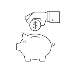 Putting coin in a piggy bank vector