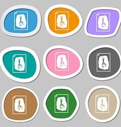 Rock scissors paper poster symbols multicolored vector