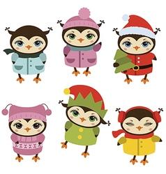 Set of christmas owls vector