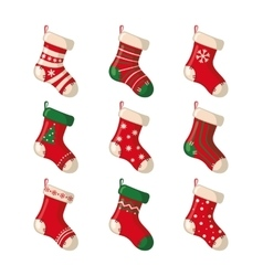Set of cute Christmas socks vector image vector image
