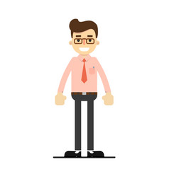 Smiling manager character in flat design vector